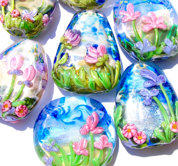 Painted Floral Beads